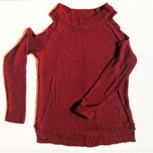 4/20 Burgandy Cold Shoulder Sweater